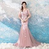 TY-ER Verlobungs-Hochzeitskleid Rosa Meerjungfrau Spitze Hochzeit Gaze Perspektive V-Ausschnitt Bankett Abendkleid Kleid, Rosa, L