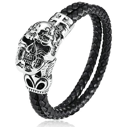 BeyDoDo Freundschaftsarmband Leder Edelstahl Armband Herren Totenkopf Herrenarmband Lederband Armreifen Silber Schwarz Western Freundschaft Armbänder