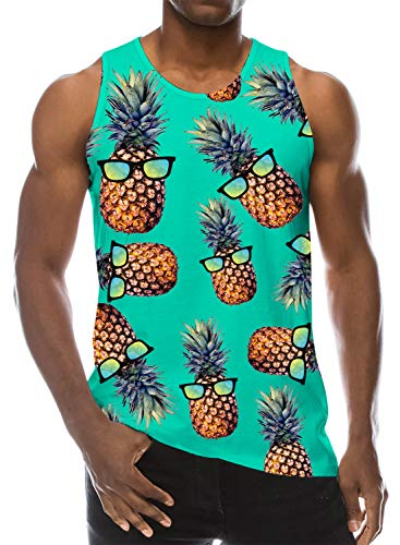 Loveternal Mens 3D Gedruckt Tank Top Ananas Ärmelloses T-Shirt Lässige Coole Muscle Shirt M