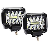 DoMoment Barra de luz LED, 4 Pulgadas 60W Barra de luz LED Impermeable LED Pods Foco Niebla Conducción Lámpara de iluminación para Off Road Truck Car Boat