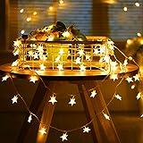 Lichterkette Sternen, Adoric 5m 40er LED Lichterkette Enenergiesparend Batterienbetrieben Warmweiß Haus Dekoration für Weihnachten Geburtstag Hochzeit Neujahr Party usw.