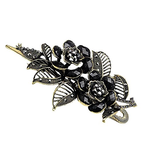 Koly Womens Vintage Rose Hair Clips Hairpins Beauty Tools Jewelry Hair Accessories (Black)
