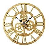 UQ-Orologio da parete silenzioso, retro Vintage-Ingranaggio numeri romani in acrilico decorazione di mobili per cucina Oro