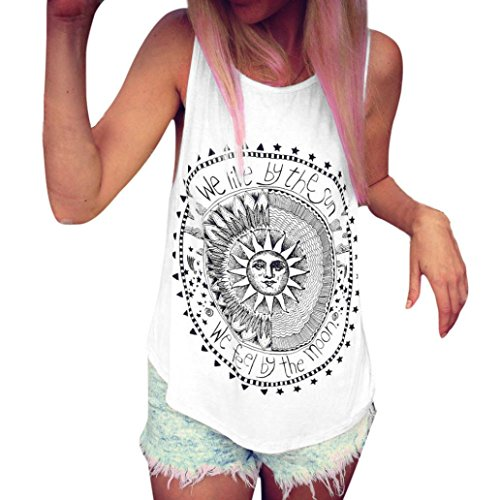 Blusa sin mangas de las mujeres Sexy Verano Sun Impreso Casual Camiseta chaleco Blusa Camisetas sin mangas Camisola Camisetas sin mangas Crop Tops Tops Blusa Camisa de tanque Camisa Bralette LMMVP (L, Blanco)