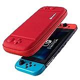 tomtoc Etui Compatible avec Nintendo Switch, Housse de Transport Rigide Portable avec 8 Cartouches de Jeu et Une Pochette d'Accessoires pour Console Nintendo Switch - Nouvelle arrivée, Rouge