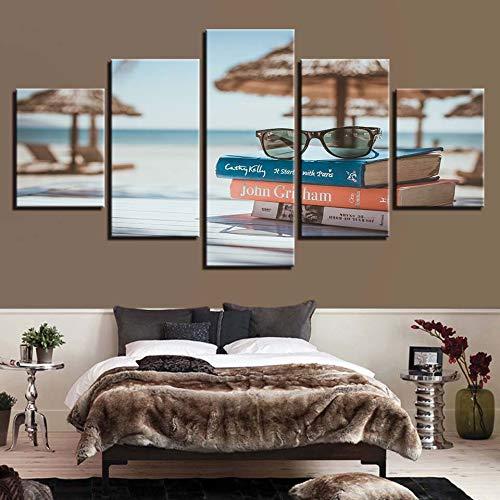 mmwin Arbeit Leinwand HD Drucke Wohnkultur 5 Stücke Buch Wandkunst Modulare Gläser Bilder Strand Kunstwerk Wohnzimmer Poster