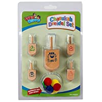 Chanukka-Kreisel-fnf-in-einer-Reihe-Kreisel-fr-Chanukkah-aus-Holz-Hanukkah-Dreydle-sewiwon Izzy 'n' Dizzy Ner Mitzvah Dreidel Set – Natural Wood – 1 Large, 4 Medium, with Chanukah Gelt -