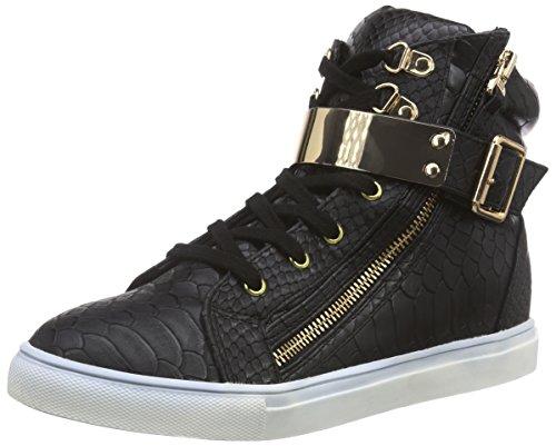La Strada Schwarzer Damen Hohe Sneakers Schwarz (1501 - croco/snake black)