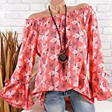 TUDUZ Damen Off Shoulder/Stehkragen Tops Sommer Loose Blumenshirt Pullover Oberteile Langarm Blusen für Alltag, Sports, Leisure, Party Oder Urlaub(Large,A-Orange)