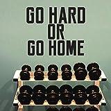 Wandtattoo, Vinyl, Motiv: Go Hard or Go Home – 48,3 x 58,4 cm, Inspirierende Fitness-Zitate – Abnehmbarer Vinyl-Wand-Aufkleber