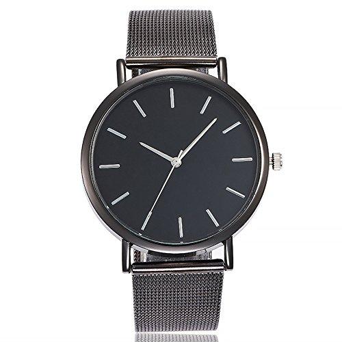 Altsommer Edelstahl Mesh Business Fashion Armbanduhr Armbanduhren Unisex Armbanduhr Damen Herren Uhr mit 4cm Gehäuse Durchmesser,Damen-Uhr mit Marmor Zifferblatt Armband,Silver (Schwarz)