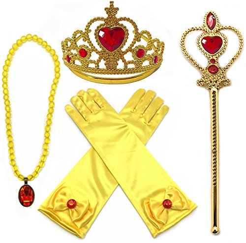 Alead Prinzessin Verkleiden Sich Belle Gelb 4 Stück Geschenk-Set Diadem,Handschuhe,Zauberstab,Halskette(Rot/Gold) (Krone Gold Kostüm)