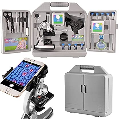 Moutec Kids Educational Microscope Set, 300 x 600x 1200x Magnifications, Includes 70pcs+ Accessories and Handy Storage Case- With Smartphone Adapter for Children and beginners as science toy