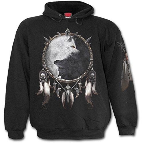 Spiral Wolf Chi Hoodie Kapuze Sweat Shirt Wolff Gothic Schwarz