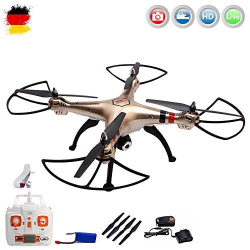 X8HW PRO WIFI FPV HD-Edition 4.5-Kanal ferngesteuerter XXL Quadrocopter 3D Drohne mit WIFI FPV HD-Kamera Live-Übertragung der Aufnahmen auf Ihrem Smartphone/Tablet, Höhenbarometer, Headless, 6-axis Gyro und vieles mehr, Mega-Set Crash-Kit