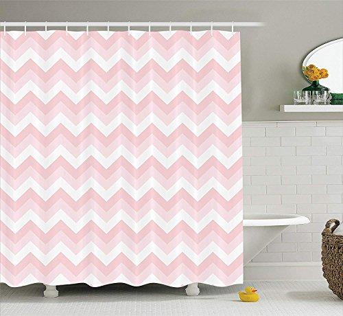 SHUHUI Chevron Decor Duschvorhang Set Zickzack Chevron Grunge Muster WeichesFarben Einfachheit Kunstvolles Design Badezimmer Zubehör lang Weiß Rosa -
