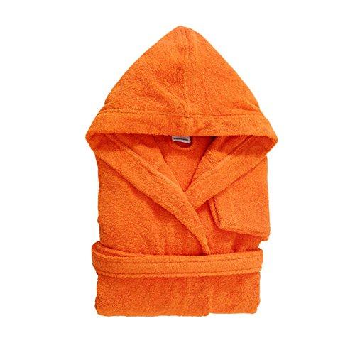 Bassetti time accappatoio con cappuccio e tasche in spugna 100% cotone vari colori (arancio, l)