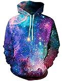 Loveternal Herren Kapuzenpullover Galaxis 3D Print Hoodies Hipster Hip Hop Pullover Sweatshirt für Teen Jungen Mädchen L/XL