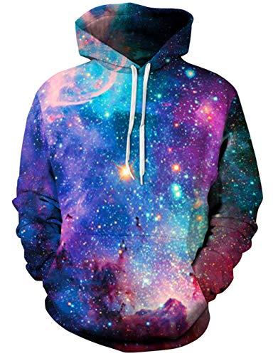 Loveternal Unisex 3D Galaxis Hoodies Baumwolle Samt Aktiv Sport Gym Workout Pullover Hoodie Sweatshirt für Damen Herren XXL