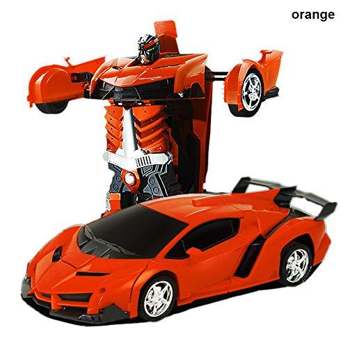 Dastrues Gefühlsgefühl der Fernbedienung Roboter EIN Knopf Umwandlung Auto Kind Spielzeug Geschenke orange