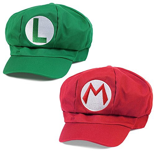Preisvergleich Produktbild KLIMBIM® Super Mario Kostüm Mütze Cap Hut Set Mario und Luigi