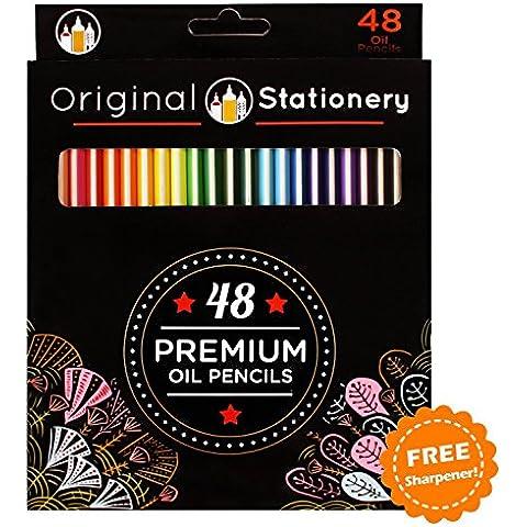 Set de 48 Lápices de Colorear, De Lujo y Resistentes a Quebraduras para Adultos: Colores Vibrantes de Larga Duración, 100% Tonos Únicos Sencillos para Principiantes, Sin Repetidos. Perfectos para Artistas y Niños también. Diseño contra Estrés y