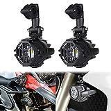 Spot LED Auxiliary Nebel Licht Sicherheit Fahrlampe Motorrad (2pcs Spot Lichter + Schutz Wächter)