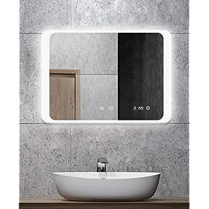 ALLDREI Antibeschlag Badspiegel mit Beleuchtung AD026A Badezimmerspiegel mit Digitale Uhr, LED Licht, Touch Schalter - Waagerecht Montage 80 x 60 cm, Weiß Lichtfarbe, Lumen 1656, Energieklasse A+
