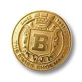 Knopfparadies 6er Set elegante leicht gewölbte Designer Metall Ösen Knöpfe mit Krone & Wappen z.B. für Blazer/matt und glänzend goldfarben/Metallknöpfe/Ø ca. 21mm