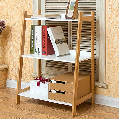 G'z Mehrschichtiges Bücherregal Bücherregal Nordic Floor Ladder rRack Wohnzimmer-Schlafzimmer-Regal 3 Tier Bambus Trapezoidal - Regale 3-tier-ladder
