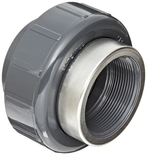Spears 8059-SR Series PVC Pipe Fitting, Union with Viton O-Ring, Schedule 80, Gray, 3/4 Socket x Stainless Steel Reinforced NPT Female by Spears Manufacturing -