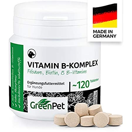 GreenPet Vitamin B Komplex Hund – Multivitamin mit B1, B2, B3, B5, B6, B7, B9, B12, Biotin & Folsäure, Vitamintabletten…