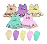 Sathiyas Baby Girls A-Line Hosiery Cotton Dresses (Multicolor, Set of 5, 1-2 Year)