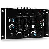 Auna DJ TMX 2211 Mesa de Mezclas 2/3 Canales Ligera Negro (Faders alta sensibilidad, compacta, función talk over, volumen micrófono, micro Pan y auricular ajustable)