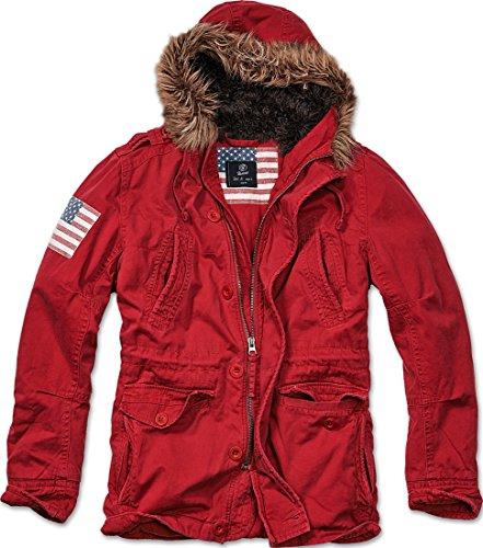 Brandit Vintage Explorer stelle e strisce da uomo militare Parka giacca invernale caldo Red XL