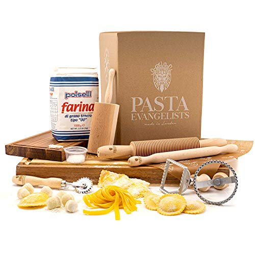 Pasta Making Kit - Pasta Evangelists - Expert Pasta Maker - Fresh Italian Artisan Pasta - 8 Piece Set - 00 Flour and Instructions Included - Beechwood Pasta Roller and Tools - Authentic Ingredients