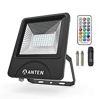 Anten 50Watt LED Strahler mit Farbwahl für Außenbeleuchtung | LED Außen Leuchte LED Fluter | RGB Flutlicht mit Memory Funktion IP66 inkl.Kabelverbinder