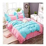 KFZ-Bettwäsche-Set, Prinzessinnen-Design, 4 Stück, Spitze, Spitze, Bettlaken, 2 Kissenbezüge, Keine Decke, einfarbige Designs, Microfaser, Blau/Pink, Full 70