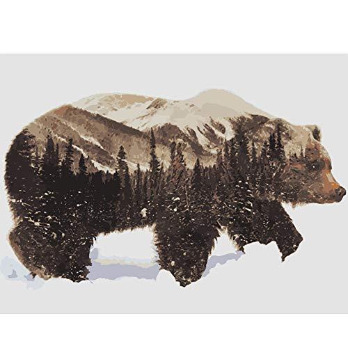 UJGIOY Malen nach Zahlen Ölgemälde färbung durch Zahlen Bild DIY Hand wandkunst leinwand malen wohnkultur Wald bär für Zimmer Ankunft Geschenk 40x50cm