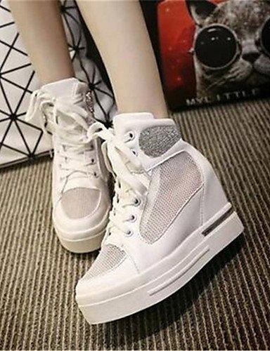 WSS 2016 Chaussures Femme-Bureau & Travail / Décontracté-Blanc / Argent-Talon Compensé-Compensées-Talons-Tulle white-us8.5 / eu39 / uk6.5 / cn40