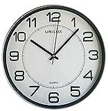 UNILUX Uhr Magnet grau magnetische Wanduhr analog qualitative Quarz-Wanduhr dekorative Wohnung/Küche/Büro/Schuluhr, einfach zu lesen, batteriebetriebee Magnet-Uhr