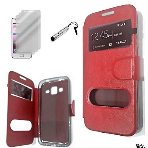 D&C® Etui Housse Luxe Fenêtre Rouge Samsung Galaxy Trend 2 Lite SM-G318H + 3 films et 1 stylet offerts