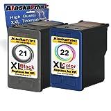 Alaskaprint WOW-Angebot 2 x Druckerpatronen Ersatz für Hp 21 XL+ 22 XL Tinte black 20ml + color 20ml Ersatz für HP C9351A / C9351CE + Hp C9352A / C9352CE (hp21xl , hp22xl hp 21xl ,hp 22xl), schwarz, farbig, Original, bk, Original Meisterserie