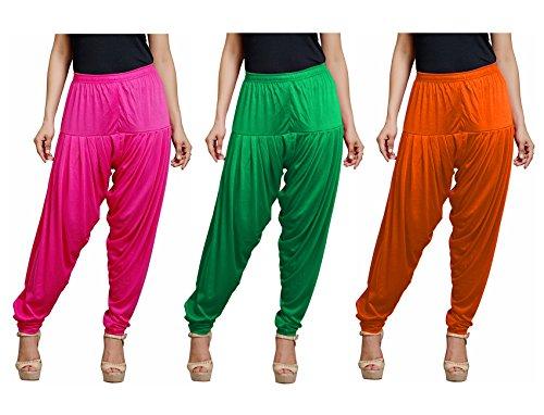 Super Stretch Viscose Spandex Patiala Combo Of 3 (Rani, Pakistani Green, Orange,...