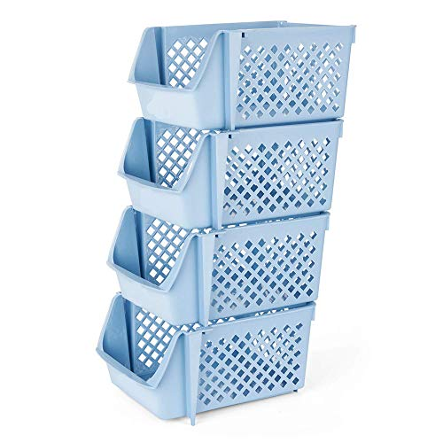 E Stapelbare Lagerplätze Regalkörbe Platzsparend für Lebensmittel Snacks Flaschen Spielzeug Toilettenartikel Kunststoff Ablagekörbe 15x10x7 Zoll ()