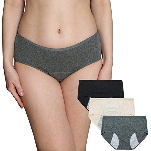 INNERSY Frauen Menstrual Zeitraum Unterwäsche Low Rise Postpartum Slip Stretch auslaufsichere Baumwolle C Abschnitt Hipster Höschen 3 Pack(XL-EU 44, Color 1) -