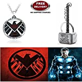 (2 Pcs AVENGER SET) - AGENTS OF S.H.I.E.L.D IMPORTED PENDANT & THOR HAMMER (SILVER) IMPORTED KEYCHAIN. LADY HAWK DESIGNER SERIES 2018. ❤ ALSO CHECK FOR LATEST ARRIVALS - NOW ON SALE IN AMAZON - RINGS - KEYCHAINS - NECKLACE - BRACELET & T SH