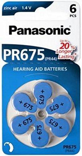60x Panasonic Worldwide Gr. 675 Hörgerätebatterien PR44 Blau 24600 (10x 6er Blister= 60 Batterien)