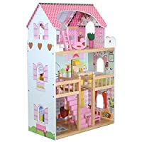 boppi® Tall Wooden Girls Dolls House 3 Storey with 17 Play Furniture Accessories