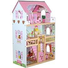boppi® Casa De Muñecas De Madera para Niñas 3 Pisos Y 17 Accesorios/Muebles